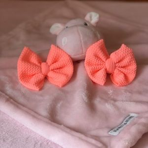 Coral Clip On Baby Girl Bows